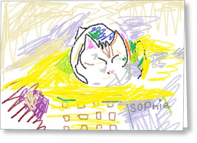 Custom Pet Drawing Greeting Cards - Jolly Sophie Greeting Card by Anita Dale Livaditis