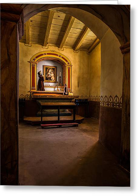 Altar Picture Greeting Cards - Jolon Mission Side Altar Greeting Card by Thomas Hall Photography