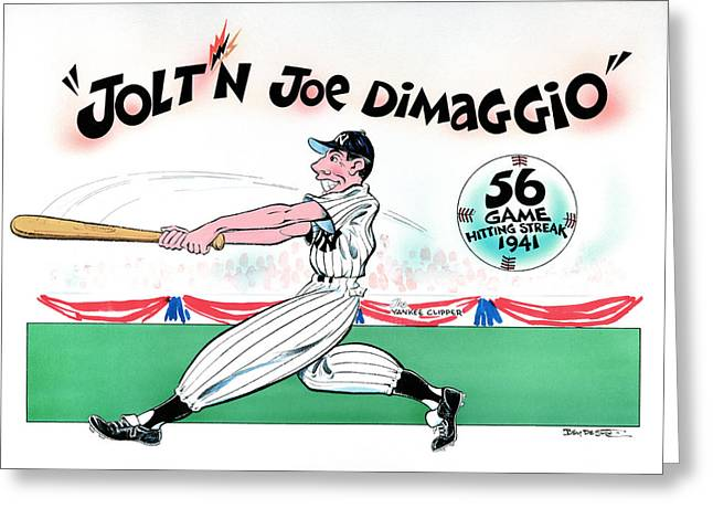 Clippers Mixed Media Greeting Cards - Joltn Joe Dimaggio Greeting Card by Ben De Soto