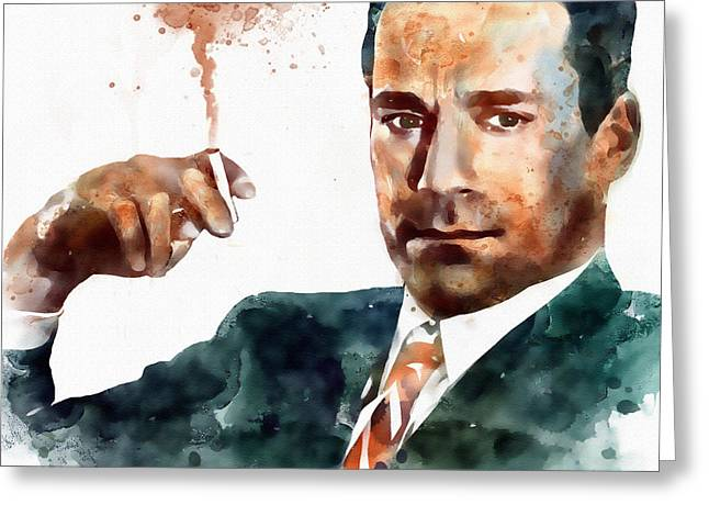 Marian Greeting Cards - Jon Hamm as Don Draper watercolor portrait  Greeting Card by Marian Voicu