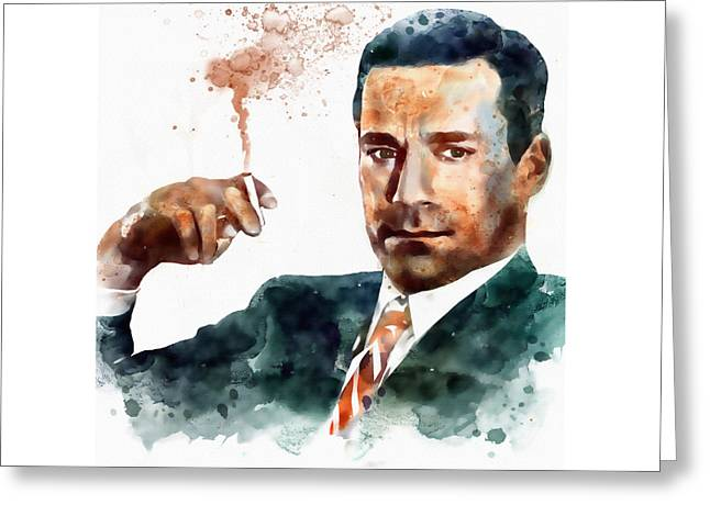 Affordable Greeting Cards - Jon Hamm as Don Draper watercolor portrait  Greeting Card by Marian Voicu