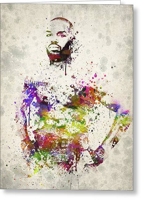 Famous Athletes Greeting Cards - Jon Jones Greeting Card by Aged Pixel