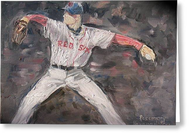 Red Sox Paintings Greeting Cards - Jon Lestor Greeting Card by Rosemary Kavanagh
