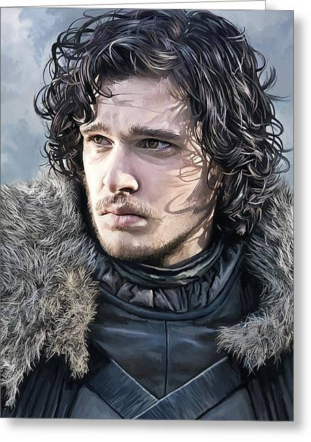 Game Mixed Media Greeting Cards - Jon Snow - Game of Thrones Artwork Greeting Card by Sheraz A