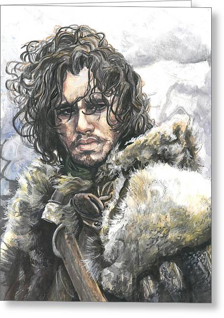Watch The Throne Greeting Cards - Jon Snow Greeting Card by Tyler Auman