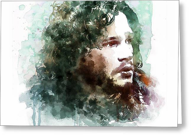 Fighters Greeting Cards - Jon Snow watercolor Greeting Card by Marian Voicu