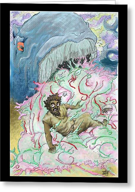 Jonah Mixed Media Greeting Cards - Jonah and the whale Greeting Card by Ronnell Williams