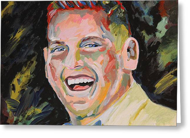 Award Greeting Cards - Jonah Hill Portrait Greeting Card by Robert Yaeger