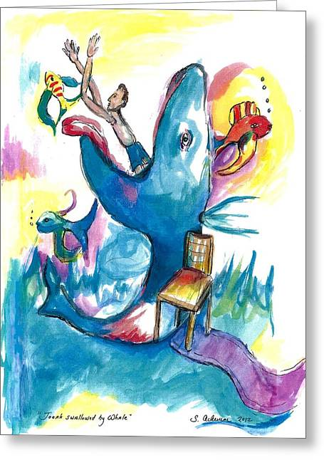 Jonah Paintings Greeting Cards - Jonah swallowed by Whale Greeting Card by Suzanne Ackerman
