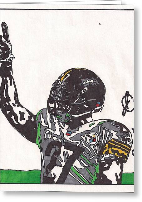 Steelers Drawings Greeting Cards - Jonathan Dwyer Greeting Card by Jeremiah Colley