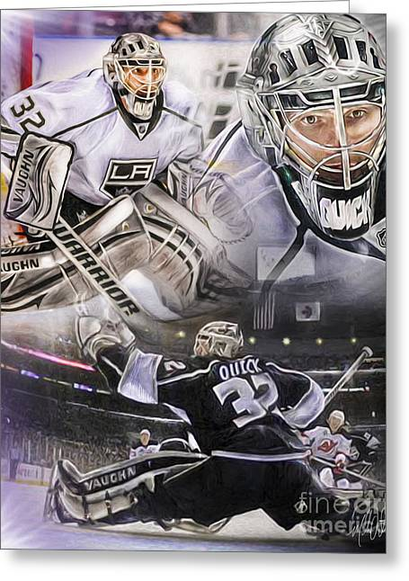 Hockey Net Greeting Cards - Jonathan Quick Collage Greeting Card by Mike Oulton
