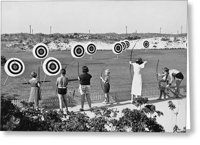 Jones Beach Archery Range Greeting Card by Underwood Archives