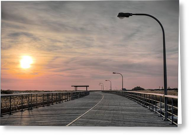 Nassau County Ny Greeting Cards - Jones Beach Boardwalk Greeting Card by JC Findley