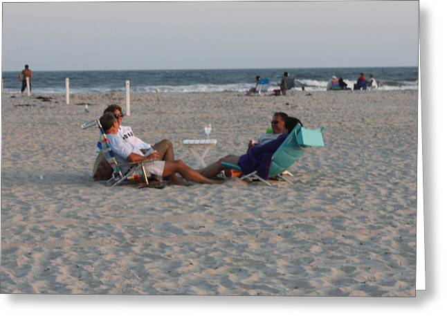Photography Of Wine Bottles Greeting Cards - Jones Beach Couples Greeting Card by John Telfer