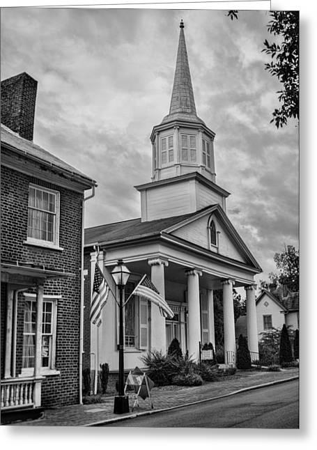 Reverend Greeting Cards - Jonesboro Methodist Church BW Greeting Card by Heather Applegate