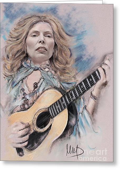 Singer Pastels Greeting Cards - Joni Mitchell Greeting Card by Melanie D