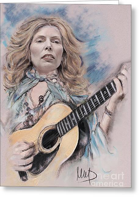 Pop Singer Pastels Greeting Cards - Joni Mitchell Greeting Card by Melanie D