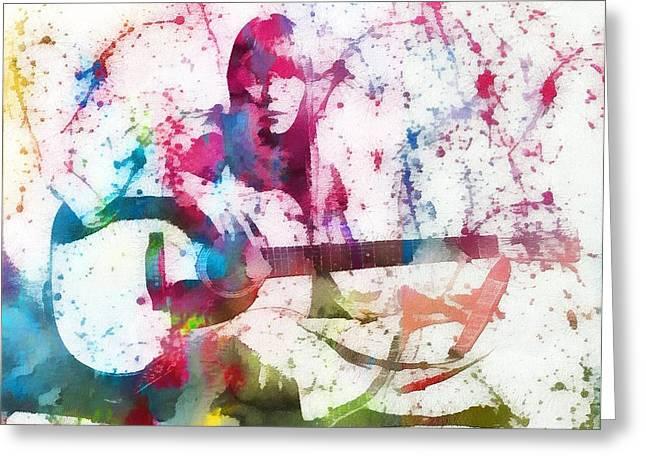 Joni Greeting Cards - Joni Mitchell Paint Splatter Greeting Card by Dan Sproul