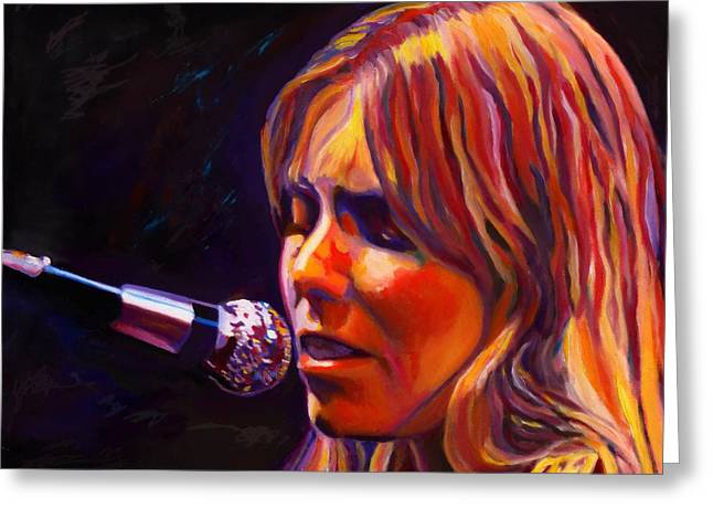 Freed Paintings Greeting Cards - Joni Mitchell..legend Greeting Card by Vel Verrept