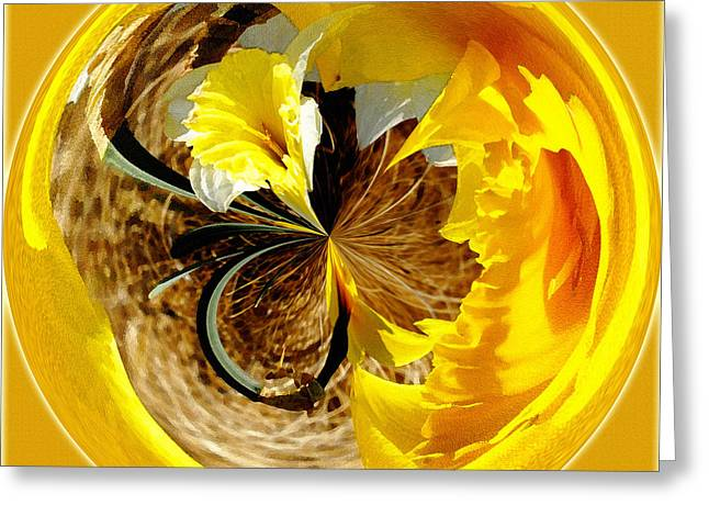 Fractal Orbs Greeting Cards - Jonquil Orb I Greeting Card by Jeff McJunkin