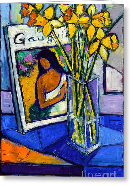 Jonquils And Gauguin Greeting Card by Mona Edulesco
