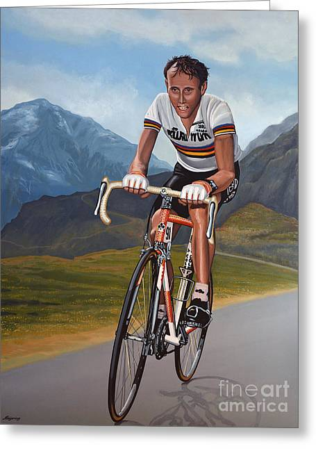 Mountain Road Greeting Cards - Joop Zoetemelk Greeting Card by Paul  Meijering