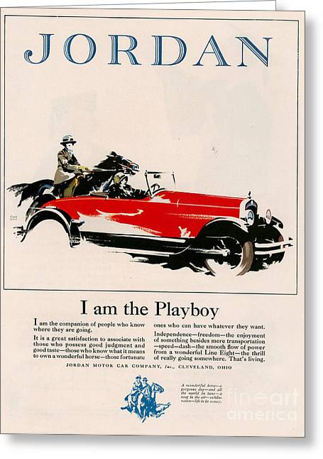 American Automobiles Greeting Cards - Jordan 1926 1920s Usa Cc Cars Horses Greeting Card by The Advertising Archives