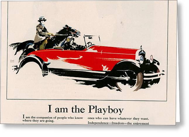Jordan 1926 1920s Usa Cc Cars Horses Greeting Card by The Advertising Archives