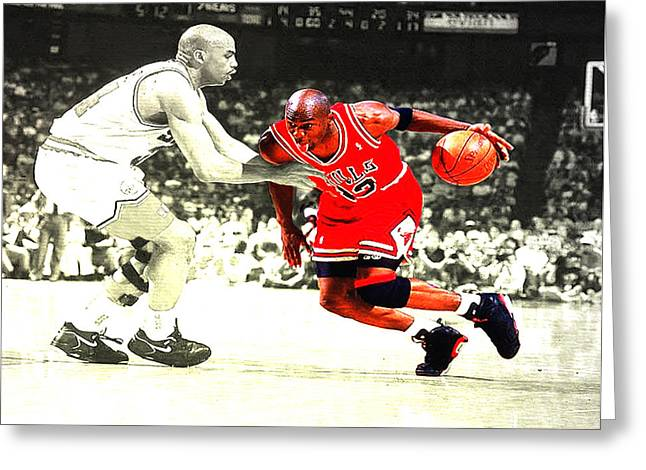 Charles Barkley Greeting Cards - Jordan and Barkley  Greeting Card by Brian Reaves
