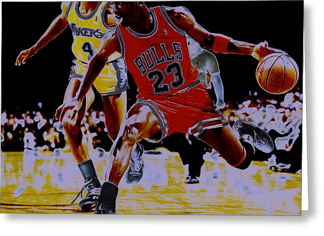 Michael Jordan Greeting Cards - Jordan and Byron Scott Greeting Card by Brian Reaves