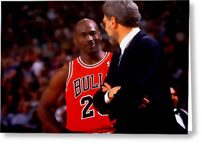 Patrick Ewing Greeting Cards - Jordan and Coach Greeting Card by Brian Reaves