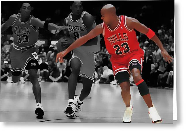 Michael Jordan Greeting Cards - Jordan and Pippen Give me That Greeting Card by Brian Reaves