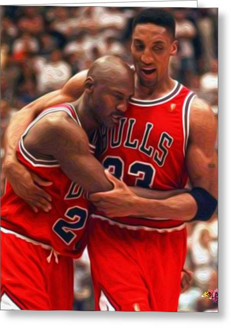 Dunking Paintings Greeting Cards - Jordan and Pippen Greeting Card by Paint Splat
