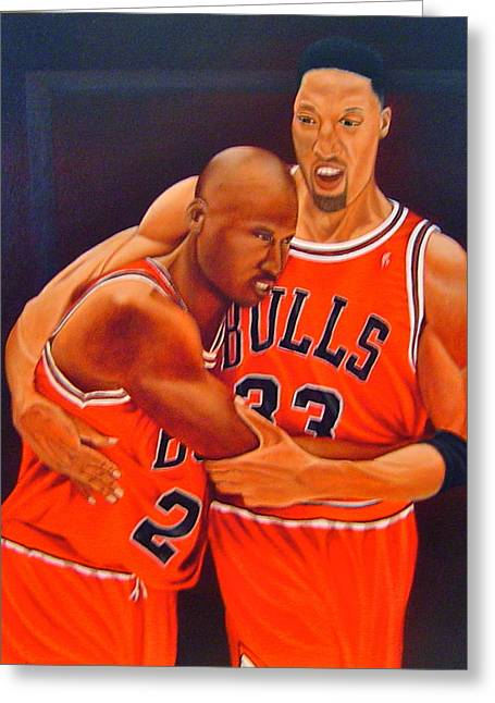 Recently Sold -  - Utah Jazz Greeting Cards - Jordan And Pippen Greeting Card by Yechiel Abramov