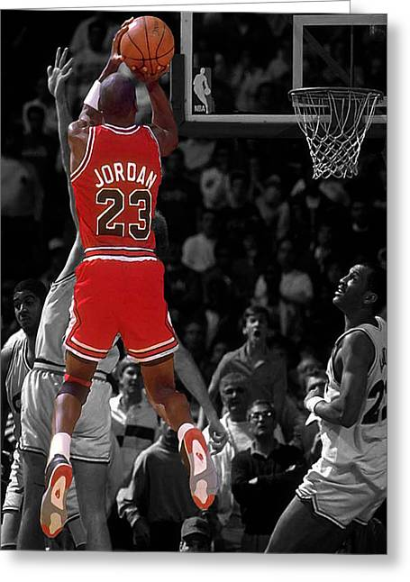 Mj Digital Art Greeting Cards - Jordan Buzzer Beater Greeting Card by Brian Reaves