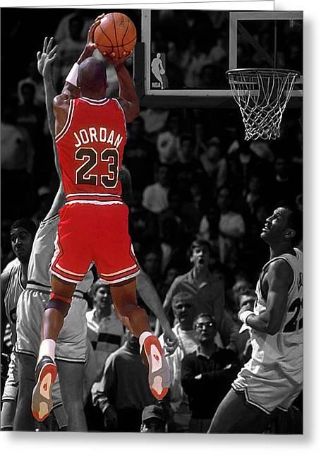 Michael Jordan Digital Greeting Cards - Jordan Buzzer Beater Greeting Card by Brian Reaves