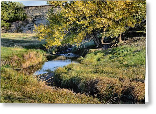 Autumn Landscape Drawings Greeting Cards - Jordan Creek Autumn Greeting Card by Bruce Morrison