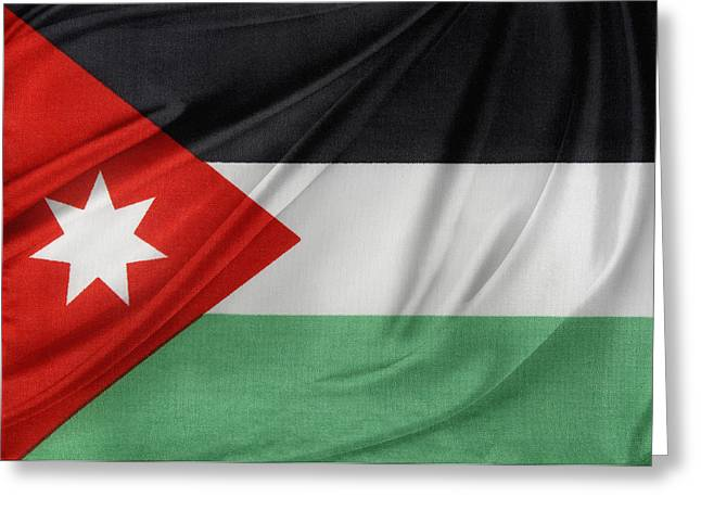 Jordan Photographs Greeting Cards - Jordan flag Greeting Card by Les Cunliffe