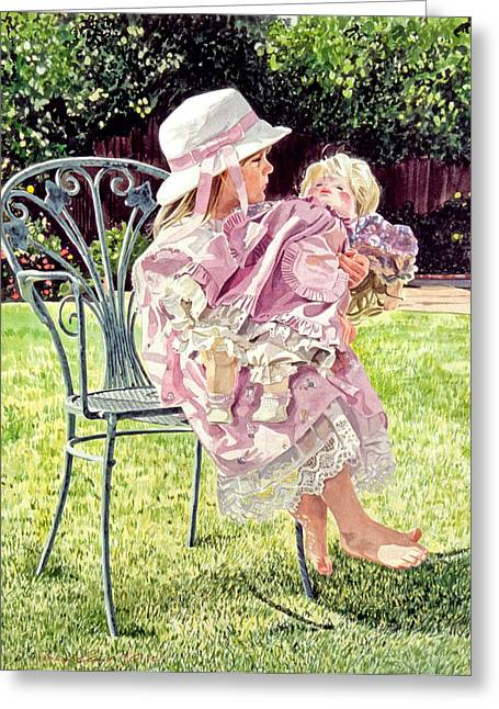 Precious Paintings Greeting Cards - Jordan Foster - Garden Girl Greeting Card by David Lloyd Glover