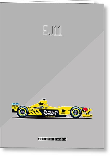 Recently Sold -  - Jordan Greeting Cards - Jordan Honda EJ11 F1 Greeting Card by Florian Rodarte