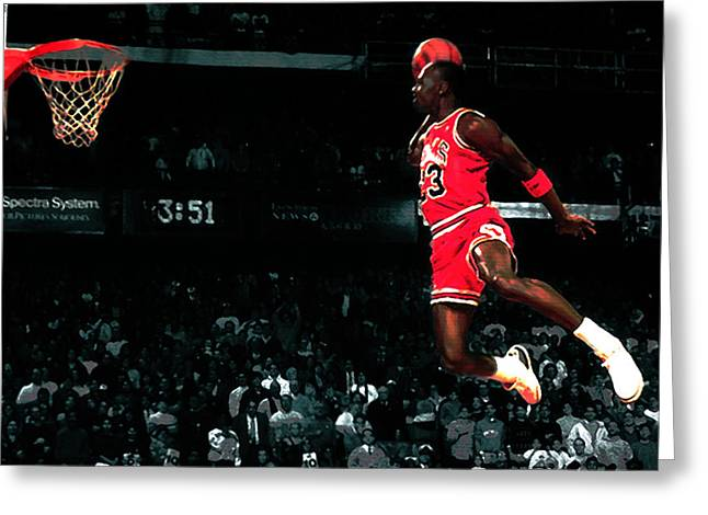 Air Jordan Mixed Media Greeting Cards - Jordan In Flight Greeting Card by Brian Reaves
