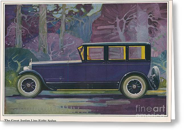 American Automobiles Greeting Cards - Jordan Line Great Sedan Car 1925 1920s Greeting Card by The Advertising Archives