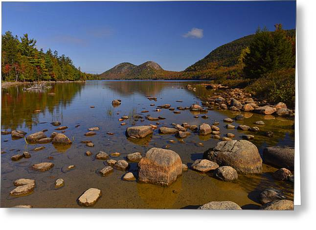 Jordan Pond Greeting Cards - Jordan Pond Afternoon Greeting Card by Stephen  Vecchiotti