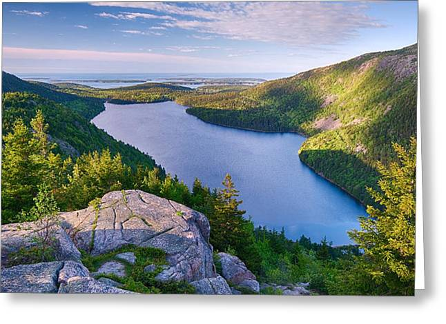 Jordan Pond Greeting Cards - Jordan Pond From The North Bubble Greeting Card by Panoramic Images