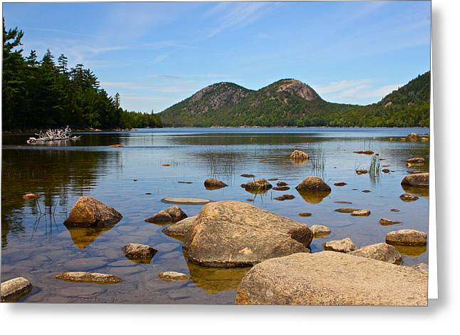 Jordan Pond Greeting Card by Jon Reddin Photography