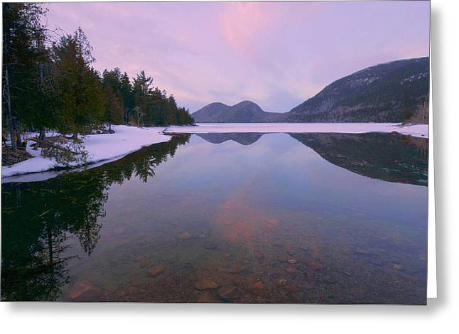Jordan Pond Greeting Cards - Jordan Pond Winter Reflections Greeting Card by Stephen  Vecchiotti