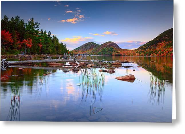 Cape Neddick Greeting Cards - Jordan Pond in Fall Greeting Card by Emmanuel Panagiotakis