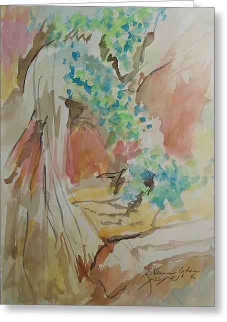 Jordan Paintings Greeting Cards - Jordan River Sources Greeting Card by Esther Newman-Cohen