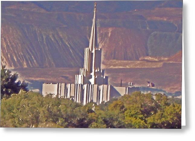 Jordan River Temple Greeting Cards - Jordan River Temple Greeting Card by VaLon Frandsen