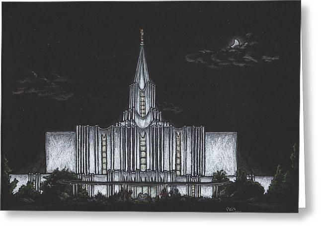 Jordan River Temple Greeting Cards - Jordan River Utah LDS Temple Greeting Card by Pris Hardy